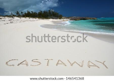 ay writing on a desrt beach of Little Exuma, Bahamas - stock photo