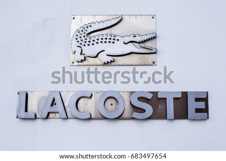 AYIA NAPA, CYPRUS - FEBRUARY 19, 2017: The logo of the brand Lacoste