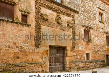 AYLLON, SPAIN - MAY 15 2016: Facade of Contreras palace in Ayllon, Segovia, Castile and Leon, Spain - stock photo