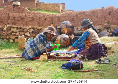 Aymara people weaving - stock photo