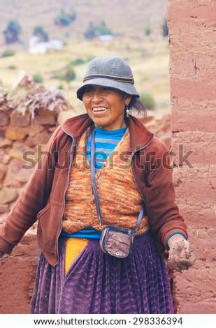 Aymara woman smiling - stock photo