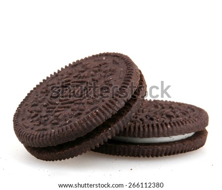 AYTOS, BULGARIA - APRIL 03, 2015: Oreo isolated on white background. Oreo is a sandwich cookie consisting of two chocolate disks with a sweet cream filling in between. - stock photo