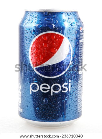 AYTOS, BULGARIA - DECEMBER 11, 2014: Pepsi isolated on white background. Pepsi is a carbonated soft drink that is produced and manufactured by PepsiCo. - stock photo