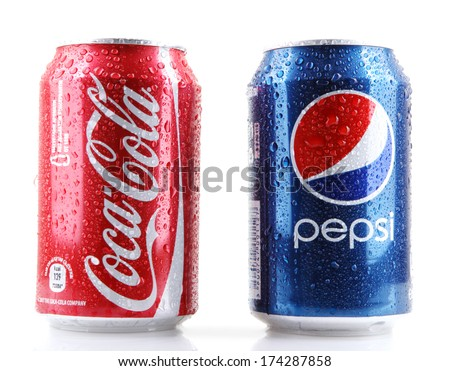 AYTOS, BULGARIA - FEBRUARI 01, 2014: Photo of a Coca-Cola and Pepsi 330 ml cans. Coca-cola and Pepsi are among the most popular carbonated drinks in the world. - stock photo