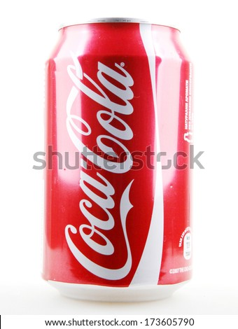 AYTOS, BULGARIA - JANUARY 28, 2014: Coca-Cola isolated on white background. Coca-Cola is a carbonated soft drink sold in stores, restaurants, and vending machines throughout the world. - stock photo