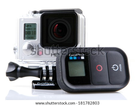 AYTOS, BULGARIA - MARCH 15, 2014: GoPro HERO3+ Black Edition isolated on white background. GoPro is a brand of high-definition personal cameras, often used in extreme action video photography.