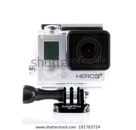 AYTOS, BULGARIA - MARCH 15, 2014: GoPro HERO3+ Black Edition isolated on white background. GoPro is a brand of high-definition personal cameras, often used in extreme action video photography. - stock photo