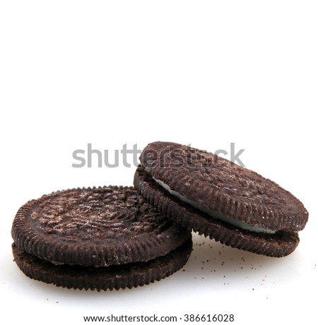 AYTOS, BULGARIA - MARCH 06, 2016: Oreo isolated on white background. Oreo is a sandwich cookie consisting of two chocolate disks with a sweet cream filling in between. - stock photo