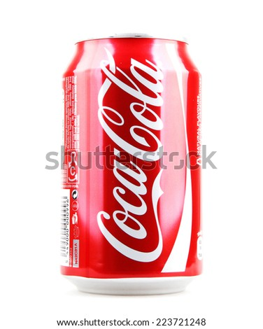 AYTOS, BULGARIA - OCTOBER 15, 2014: Coca-Cola isolated on white background. Coca-Cola is a carbonated soft drink sold in stores, restaurants, and vending machines throughout the world. - stock photo