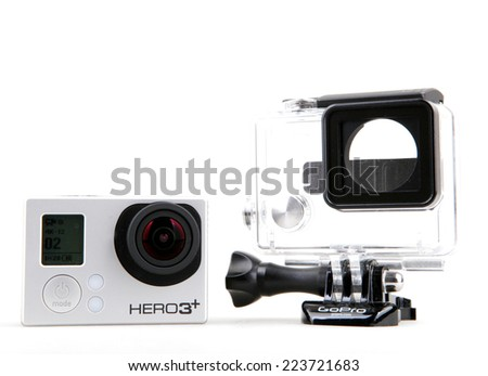 AYTOS, BULGARIA - OCTOBER 15, 2014: GoPro HERO3+ Black Edition isolated on white background. GoPro is a brand of high-definition personal cameras, often used in extreme action video photography.
