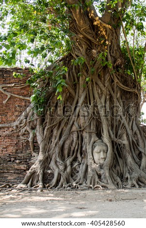 Ayutthaya historical park Buddha statues without head and old Brick in , Ayuthaya , Thailand - stock photo