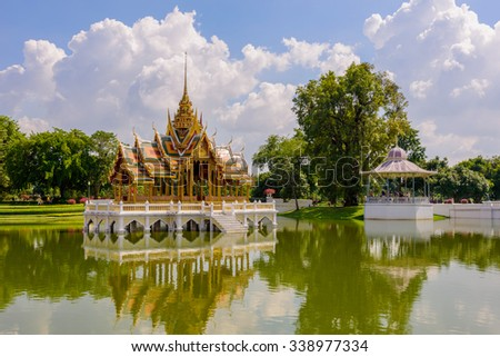 Ayutthaya Thailand-Bang Pa-In Palace is a tourist site that shows the adaptation of Thailand about 130 years ago.