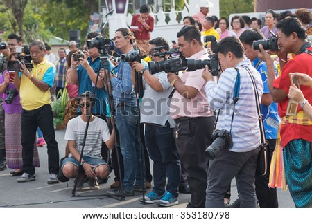 AYUTTHAYA,THAILAND - DEC-18- 2015:Photographer on duty in public news take photo event for reporter and mass media communication. - stock photo