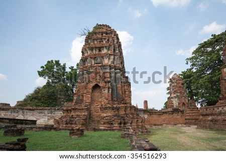 Ayutthaya, THAILAND - DECEMBER, 2015:The Ayutthaya Historical Park covers the ruins of the old city of Ayutthaya, Thailand.
