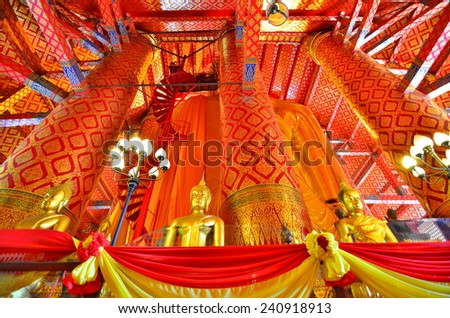 AYUTTHAYA, THAILAND - 29 December, 2014 : The huge Buddha in Wat Phanan Choeng that was founded by the refugee from Song Dynasty. People come to do the merit with the Buddha which called Luang Pho Tho