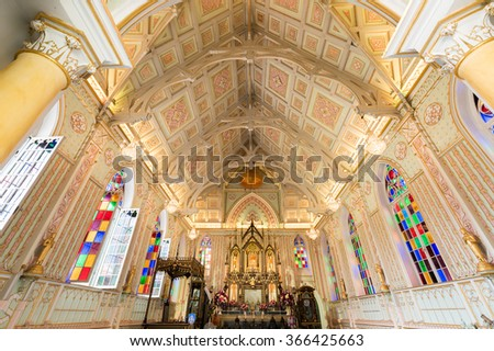 AYUTTHAYA, THAILAND - Jan 20, 2016 : Inside the church of Wat Niwet Thammaprawat. The Buddhist Temple which was construct with the Christian Style.