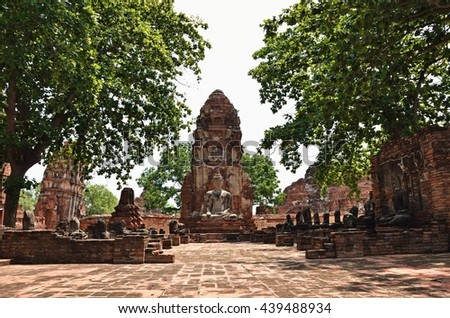 Ayutthaya, THAILAND - JUNE 19 :2016. Buddha images and pagodas Wat Mahathat.  Wat Mahathat is a Buddhist temple in the city of Ayutthaya Historical Park. - stock photo