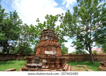 AYUTTHAYA-THAILAND- MAY 13 : Ruins of the monastery, ruins of the old pagoda & area in The old temple on May 13, 2014, Ayutthaya Province, Thailand