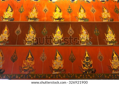 AYUTTHAYA,THAILAND - OCTOBER 17, 2010 : Ancient mural at the wall inside Church of Wat Panan Choeng is a Buddhist temple a popular tourist attraction,Located Ayutthaya Historical Park in Thailand.