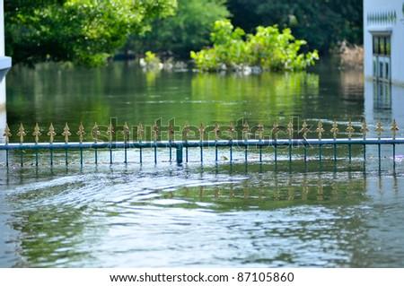 AYUTTHAYA, THAILAND - OCTOBER 17: flooded city center during the monsoon season in Ayuttaya, Thailand on October 17, 2011 - stock photo