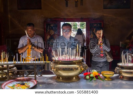 Ayutthaya, Thailand - October, 21, 2016 : Unidentified name people praying respect to god Jao Mae Soi Dork Mark at Wat panancherng, Jao Mae Soi Dork Mark the Chinese Shrine at Ayuttaya.