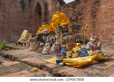 AYUTTHAYA-THAILAND , Ruins of the monastery, ruins of the old pagoda, ruins Buddha statue & area in The old temple  - stock photo