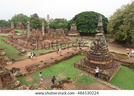 AYUTTHAYA, THAILAND - SEPTEMBER 19, 2016 : Ancient Buddhist pagoda ruins at Wat Phra Sri Sanphet temple. Ayutthaya, Thailand travel landscape and destinations