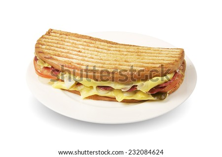 Ayvalik Tostu- Turkish traditional toast sandwich - stock photo