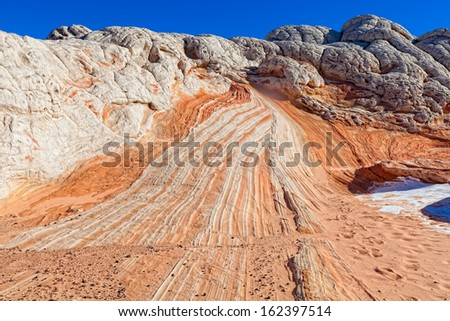 AZ UT border- near S. Coyote Buttes-White Pocket area.  This spectacular remote area, accessed by high clearance vehicles only, exhibits magnificent rock formations. - stock photo