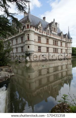 Azay-le-Rideau castle in the Loire Valley, France  - stock photo