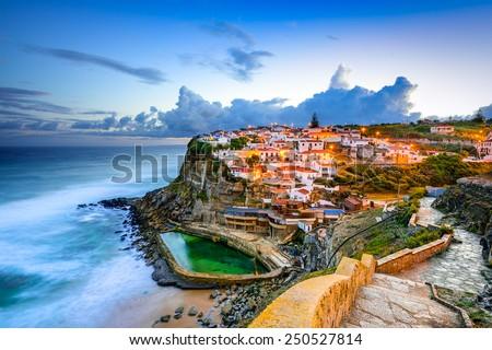 Azenhas do Mar, Portugal coastal town. - stock photo