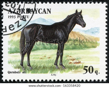 AZERBAIJAN - CIRCA 1993: A stamp printed in Azerbaijan shows a black horse standing in a pasture, circa 1993. - stock photo