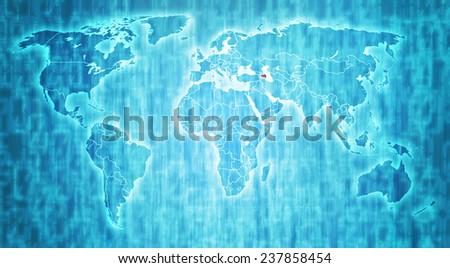 Azerbaijan flag on blue digital world map with actual national borders - stock photo