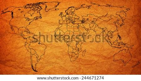 azerbaijan flag on old vintage world map with national borders - stock photo
