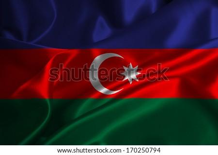 Azerbaijan flag on satin texture. - stock photo