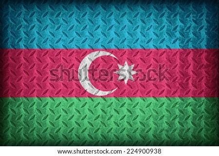 Azerbaijan flag pattern on the diamond metal plate texture ,vintage style - stock photo