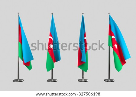 Azerbaijan indoor flags isolate on white background