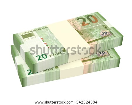 Azerbaijan manat isolated on white background. 3D illustration.