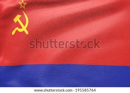 Azerbaijan soviet socialist republic flag textured by leather - stock photo