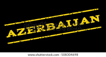 Azerbaijan watermark stamp. Text Caption between parallel lines with grunge design style. Rubber seal stamp with dirty texture. Glyph yellow color ink imprint on a blue background.