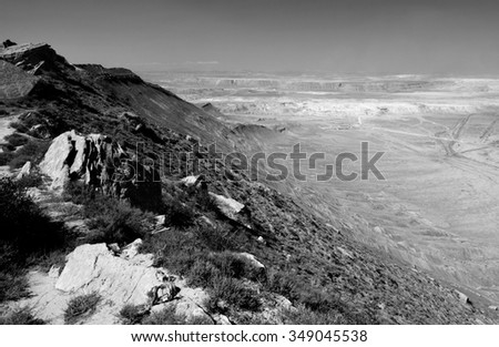 Azerbaijani hills in black and white.  The landscape around Baku, the capital of Azerbaijan, is both arid and beautiful