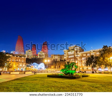 Azneft square during evening hours in Baku Azerbaijan - stock photo