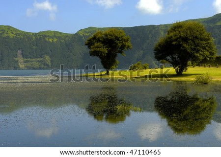 azores lake of Sete Cidades, at Sao Miguel island, Portugal - stock photo
