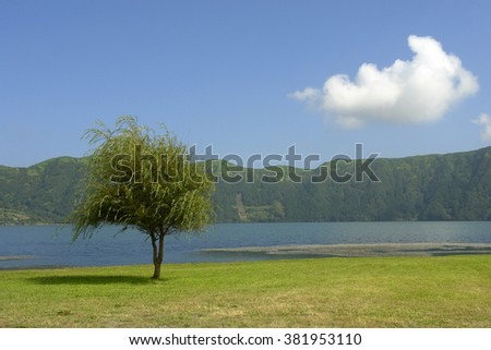 Azores sete cidades lake in sao miguel island, Portugal - stock photo