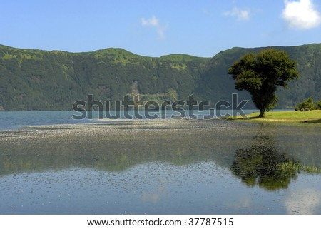 azores seven lake city in sao miguel island - stock photo