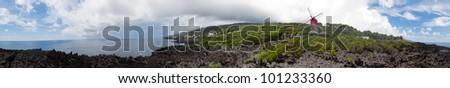 Azores windmill panorama - stock photo