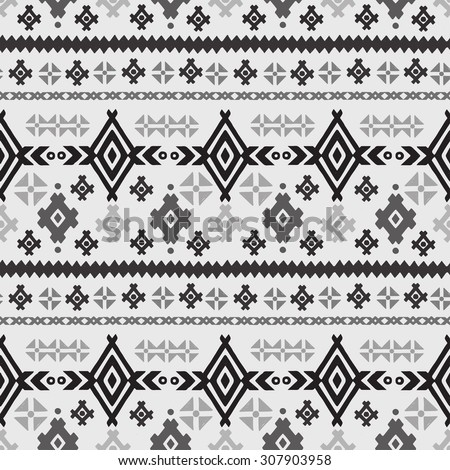 Aztec tribal art seamless pattern in black and white. Ethnic monochrome geometric print. Folk border repeating background texture. Fabric, cloth design, wallpaper, wrapping - stock photo