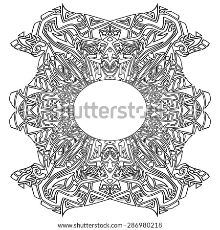 Aztec Tribal coloring frame zentangle - stock photo