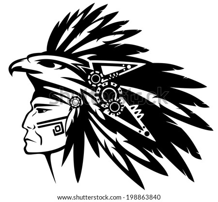 aztec tribe warrior wearing feather headdress with eagle profile head - black and white outline - stock photo
