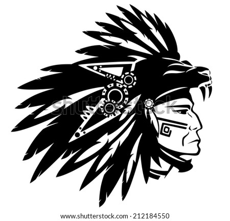 Aztec tribe warrior wearing feather headdress with panther head - black and white design - stock photo